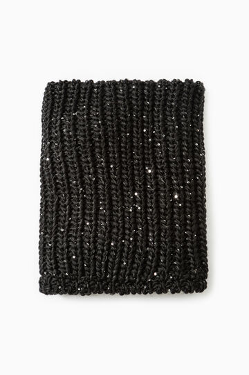 Knitted scarf with sequins, Black, hi-res