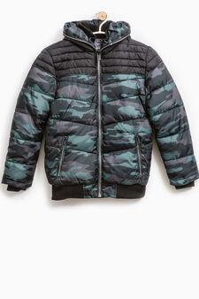 Camouflage print jacket, Grey, hi-res