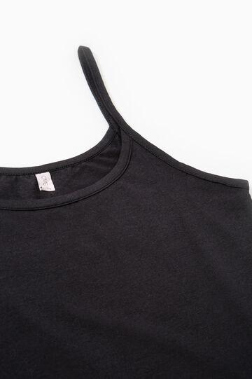 Two-pack solid colour vest tops, Black, hi-res