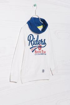 100% cotton sweatshirt with high neck., White, hi-res