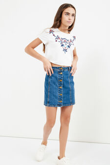 Teen denim mini skirt with buttons, Denim, hi-res