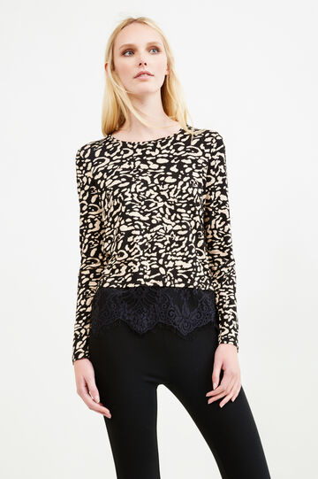 Stretch viscose T-shirt with animal print, Multicolour, hi-res