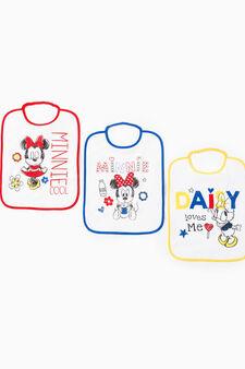 Three-pack cotton Minnie Mouse bibs, Multicolour, hi-res