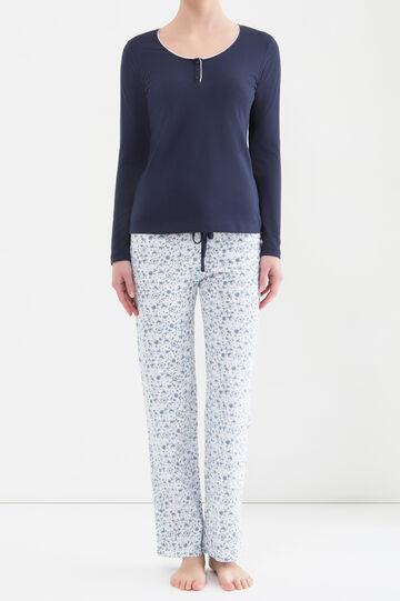 100% cotton pyjamas with floral print, Navy Blue, hi-res
