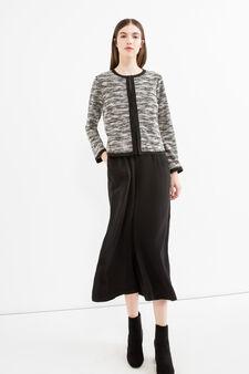 Cotton blend patterned pullover, Black/White, hi-res
