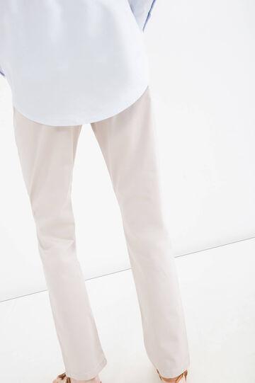 Plain stretch trousers, Chalk White, hi-res