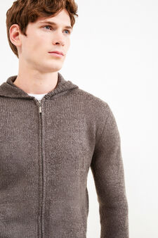 Knitted cardigan with hood, Grey, hi-res