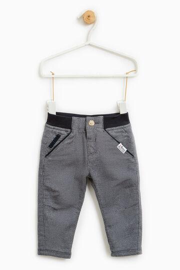 Pantaloni cotone micro fantasia, Blu navy, hi-res