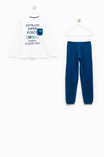 Cotton pyjamas with printed lettering, White/Blue, hi-res