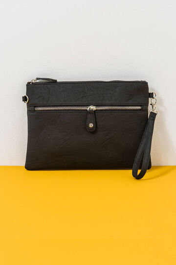 Solid colour clutch with strap, Black, hi-res