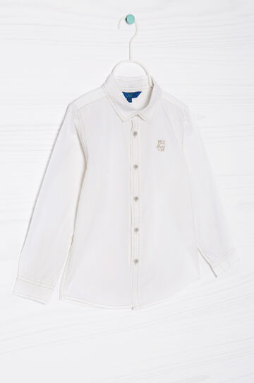 100% cotton shirt with embroidery, White, hi-res