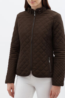 Short puffa jacket, Mud Brown, hi-res