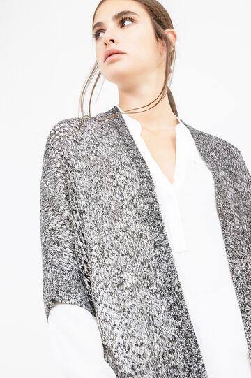 Chunky knit cardigan with lurex, Black/White, hi-res