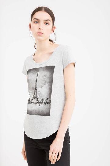 T-shirt cotone con stampa, Grigio, hi-res