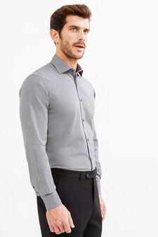 Camicia formale regular fit fantasia, Beige, hi-res