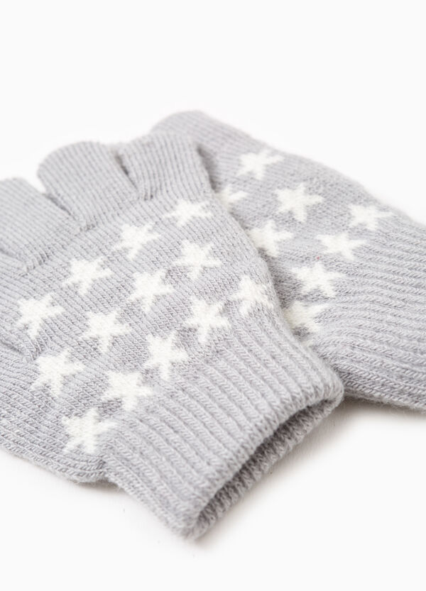 Solid colour gloves with star embroidery | OVS