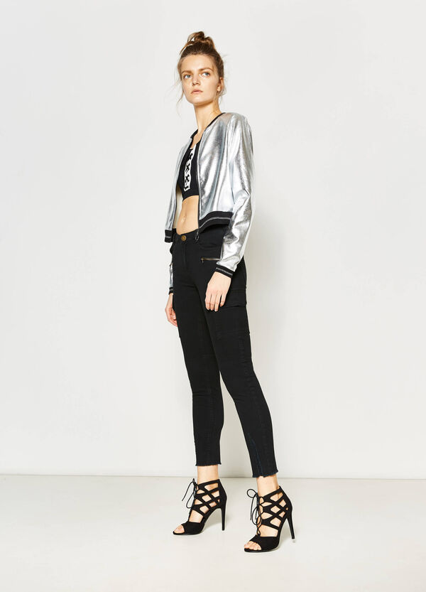 Shiny crop jacket in cotton | OVS