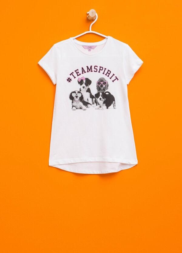 T-shirt in cotone stampa e strass | OVS