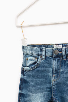 Jeans slim fit stretch effetto used, Blu chiaro, hi-res