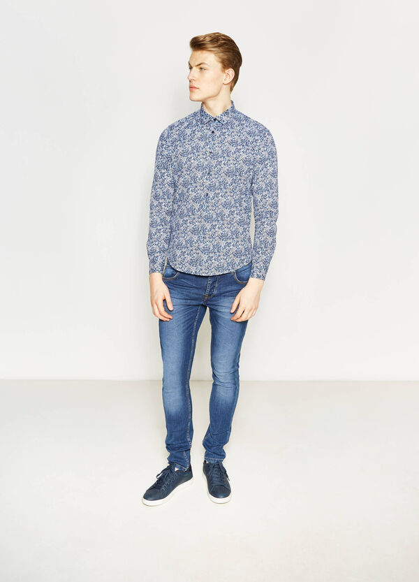 Slim-fit casual floral shirt | OVS