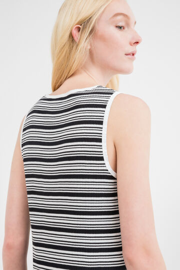 Ribbed top in 100% striped cotton, Black/White, hi-res