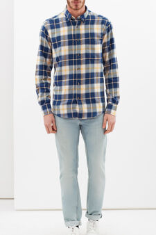 Check cotton shirt, Blue/Yellow, hi-res