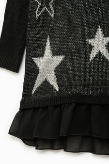 Vestitino girocollo fantasia stelle, Bianco/Nero, hi-res