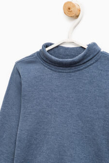 Turtleneck jumper in 100% cotton, Deep Blue, hi-res