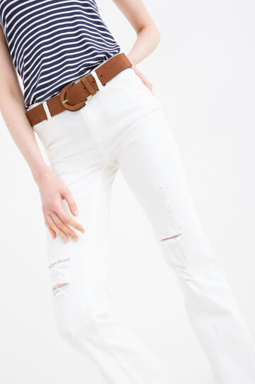 Ripped, flare-fit stretch jeans, White, hi-res