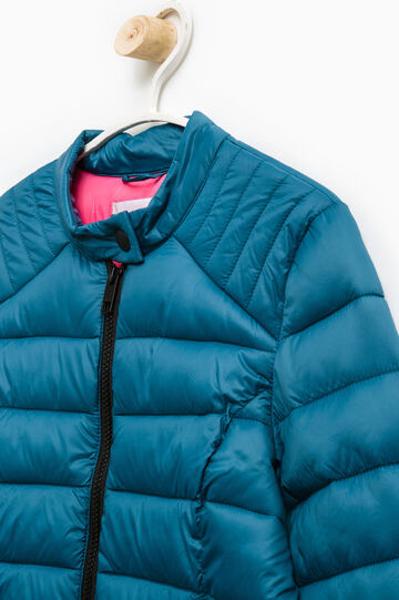 Solid colour light down jacket with zip, Petrol Blue, hi-res