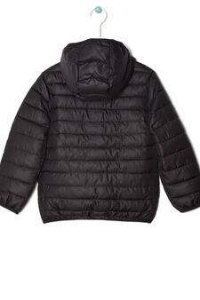 Down jacket with hood, Dark Grey, hi-res