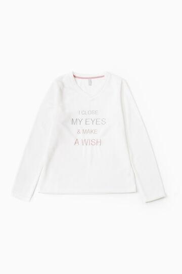 Solid colour fleece pyjama top, Cream White, hi-res