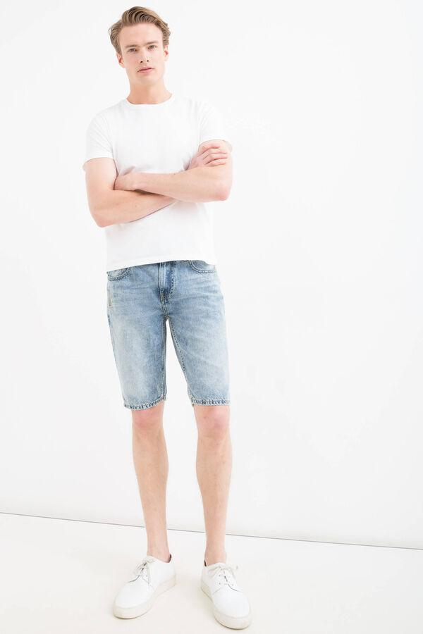 Straight fit worn denim Bermuda shorts | OVS