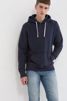 G&H cotton blend hoodie, Navy Blue, hi-res