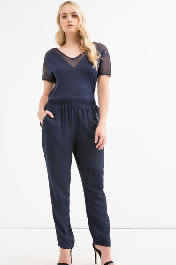 Curvy solid colour viscose trousers, Navy Blue, hi-res