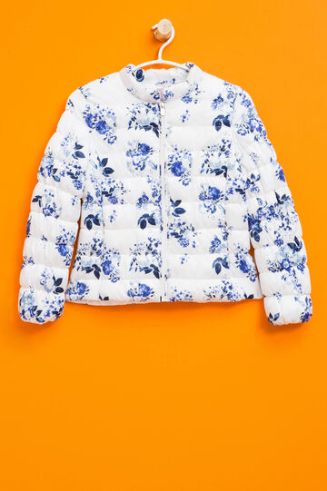 Down jacket with all-over floral print, White/Blue, hi-res