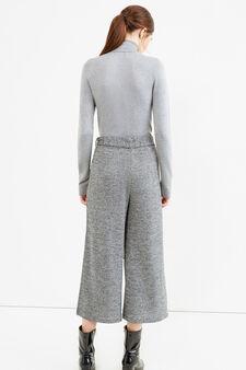 Solid colour viscose blend turtleneck jumper, Grey, hi-res