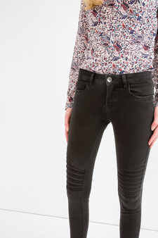Skinny fit stretch biker jeans with zip, Black, hi-res