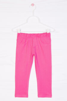 Stretch cotton blend leggings, Fuchsia, hi-res