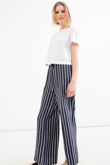 Striped trousers in 100% cotton, Black, hi-res