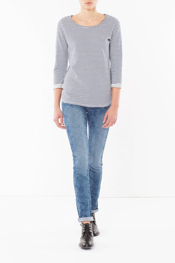 Knit sweater, White/Blue, hi-res