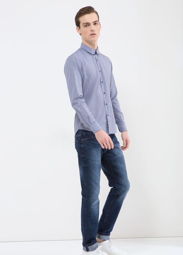 Check shirt with button-down collar | OVS