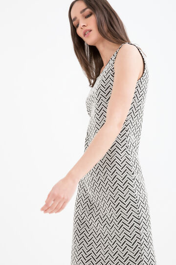 Patterned stretch tube dress, Black/White, hi-res