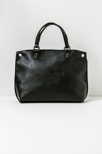Handbag with eyelets, Black, hi-res