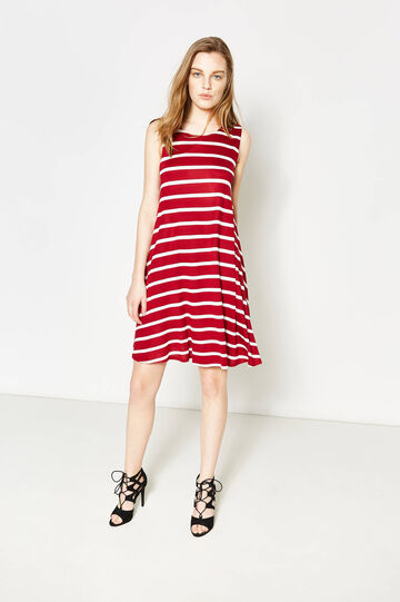 Striped sleeveless dress, White/Red, hi-res