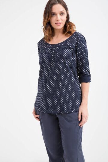 Curvy polka dot cotton T-shirt, Navy Blue, hi-res