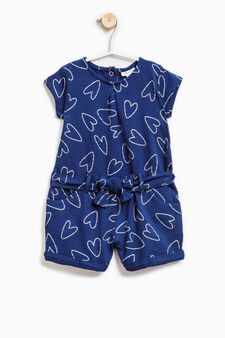 Short stretch romper suit with print, Navy Blue, hi-res