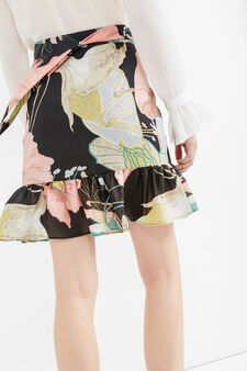 High waist skirt with all-over print, Black, hi-res