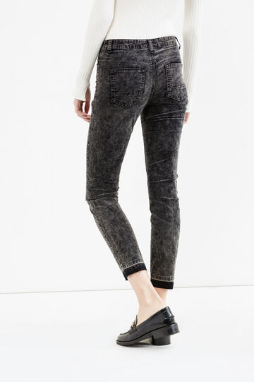 High waist stretch jeans with unstitched hem, Black, hi-res