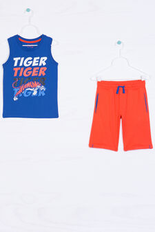 100% cotton outfit with drawstring, Blue/Orange, hi-res
